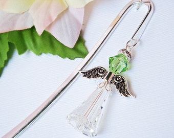 Crystal Angel Bookmark Swarovski Peridot Green Crystal Angel Bookmarker