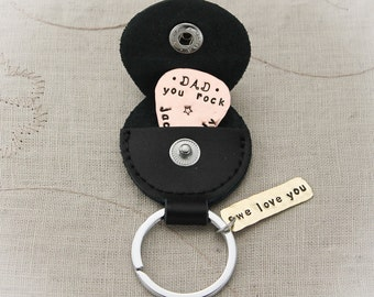 Guitar Pick with Case Dad, Mom, Grandma, Grandpa, Copper and Brass Hand Stamped Key Chain Hand Stamped Personalized Key Chain