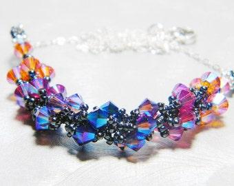 "Swarovski Volcano Inspired Crystal Necklace Beadweaving -  ""Magma"""