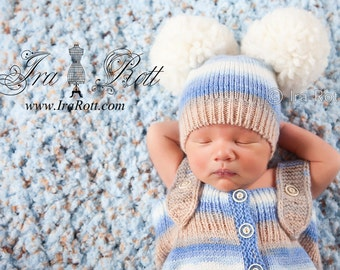 Knitted Baby Romper and Hat Set with Large Pom-Poms READY to SHIP