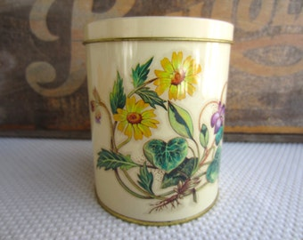 Vintage Yellow Wild Flowers Tin by Daher