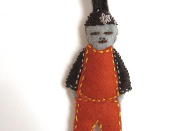Orange Person -------- KeyChain----Miniaturess-doll-felt and beads- unisex