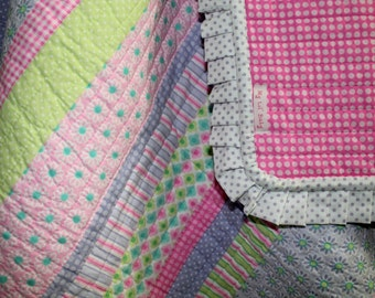 Pinks and Purples Baby Girl Quilt Blanket
