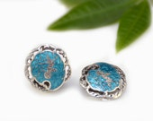 Siam Sterling Earrings Silver BlueTurquoise Niello Filigree Goddess Round Clip On Vintage - W2378