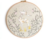 "Reindeer - Personalised Embroidered Hoop Art - gold, pink & brown - large 10"" hoop"