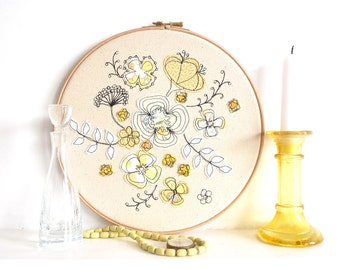 "Hello Petal - Personalised Embroidery Textile Art - Floral Hoop Artwork in sunny yellow - Large 10"" hoop"
