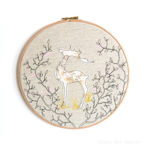 Reindeer personalised embroidered hoop art gold pink