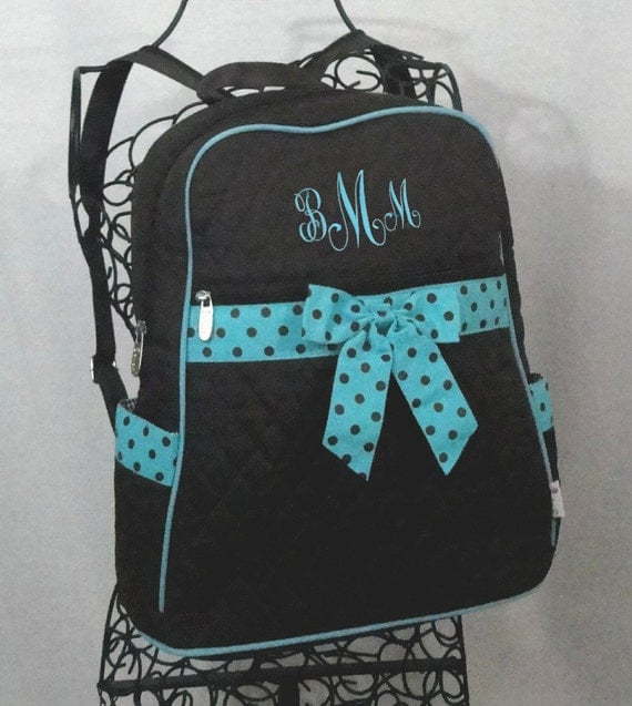 Personalized Backpack Large Quilted Chocolate Brown and Turquoise-Monogram Included