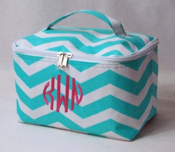 Personalized Cosmetic Case Aqua and White Chevron Pattern