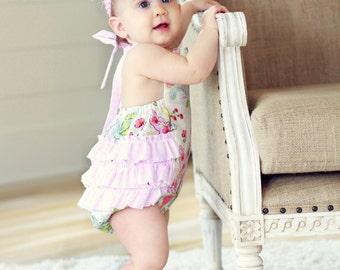 Secret Garden Floral Retro Ruffled Baby Girl Sunsuit Romper 0-3mo 3-6mo 6-12mo 12-18mo 18-24mo