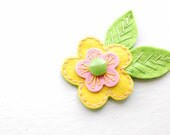 Pink and Yellow Blossom Hair Clip