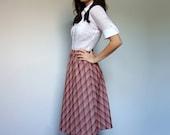 Classic Plaid Skirt 70s Vintage Orange Brown White A Line Fall Skirt Knee Length - Small. Medium. S/ M