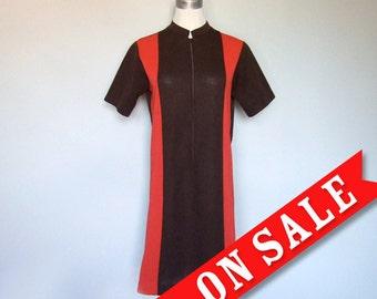 Vintage 70s Retro Dress Bowler Color Block Dress Mod Fall Fashion Brown Orange - Large L