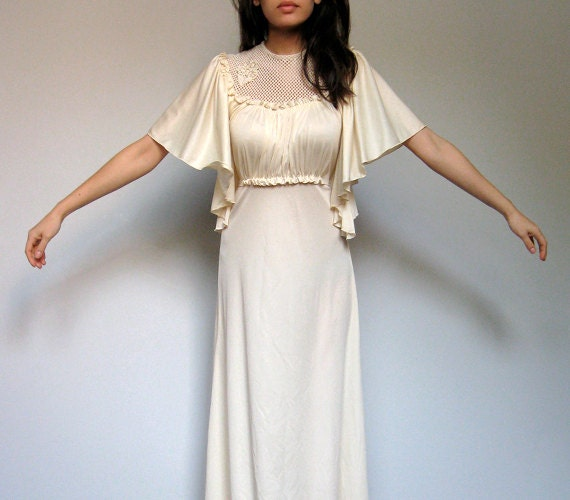 Ivory Maxi Dress Boho 70s Gown Bell Sleeve Long Floor Length Dress - Extra Small. Small. XS/ S
