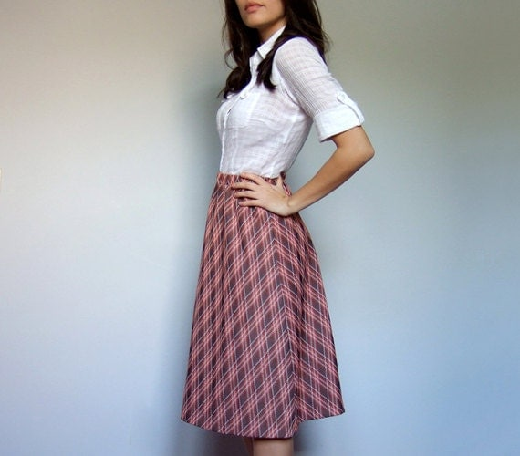Classic Plaid Skirt 70s Vintage Orange Brown White A Line Fall