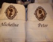 Embroidered Towel Set  personalized Cameo Bride and Groom   2 towels 2 hand