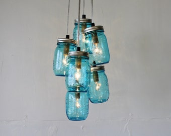 Feelin' Blue Mason Jar Chandelier Featuring 6 Blue Perfect Mason Jars - Direct Hardwire Hanging Lighting Fixture - Modern BootsNGus Lamps