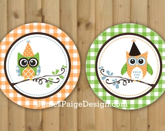INSTANT DOWNLOAD: Whimsical Owl themed Happy Birthday Banner - (Brown, Orange, Blue, Green)