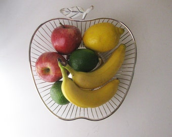 Vintage Metal Wire Basket, Apple Shaped