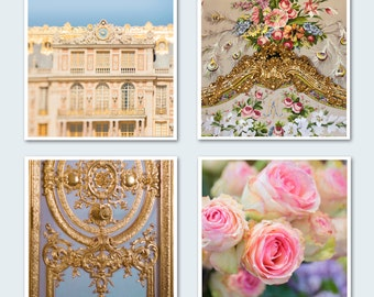 Paris Photography - Versailles Set of Four Fine Art Photographs, Roses, Marie Antoinette, French Wall Decor