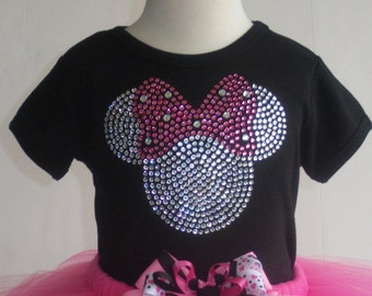 2T 3T 4T 5T 6/6X Pink Minnie Mouse rhinestone Disney Short or Long Sleeve t shirt for costume
