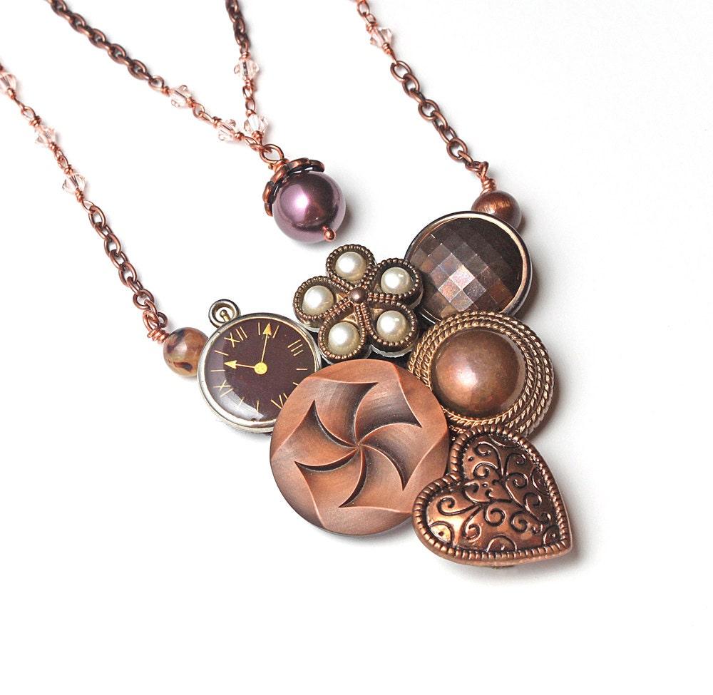 Vintage Wire Chain Jewelry Making Brass Chain Custom: Vintage Button Necklace Steampunk Victorian Copper Chain Wire