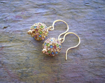 Gold Multicolor Pave Crystal Earrings with 14K Gold Fill - Evening Sparklers