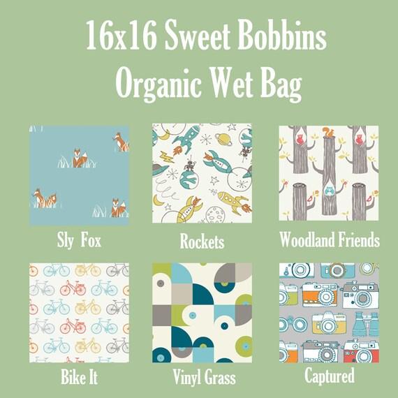 Organic Cotton - 16x16 Sweet Bobbins Wet Bag - SEAM SEALED - Snap Strap - Boutique Quality