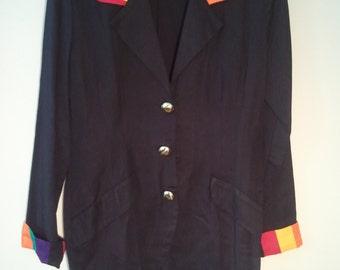 late 80s early 90s rainbow color block boho blazer hippie jacket 36 38 11