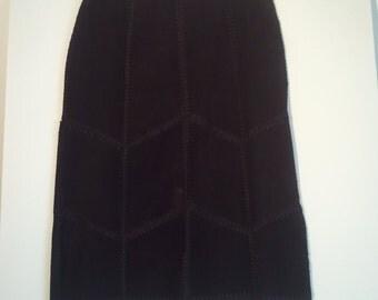 black leather suede skirt hippie boho grunge punk bohemian beatnik patch patchwork chevron small medium