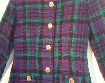 80s plaid two piece suit blazer jacket mini skirt Rampage 1980s 80s tartan boho punk