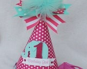 girlie circus elephant birthday party hat in hot pink and aqua blue