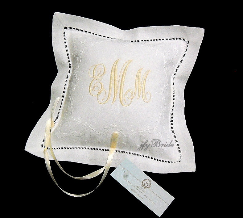 Monogram Wedding Ring Bearer Pillow: Personalized Ring Bearer Pillow Monogram Ring Pillow Wedding