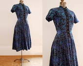 V I  N T A G E Lapis Lazuli Dress. Fifties Dropwaist.