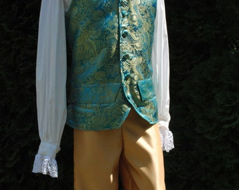 CUSTOM RESERVED Colonial 18th Century Rococo Mens 1700s outfit includes breeches & waistcoat
