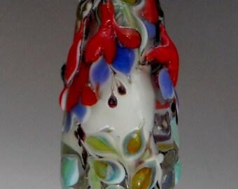 Fushia Handmade Lampwork Floral Focal Bead-- SRA