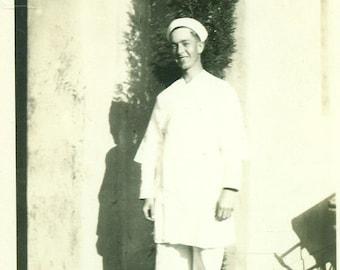 WW2 Navy Sailor Cook White Uniform Standing Outside 1940s World War 2 Vintage Black White Photo Photograph