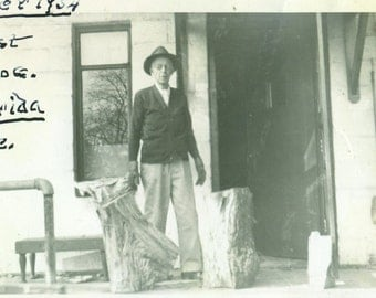 Winter 1954 Old Man Chopping Fire Wood Firewood Logs Vintage Photo Black and White Photograph