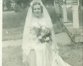 Bride Sitting Outside Long White Gown Train Veil Vintage Photo Black and White Photograph
