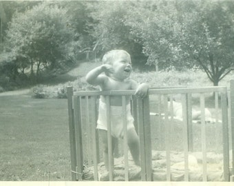 Happy Baby in Playpen Outside Summer Day Park Play Pen Vintage Black And White Photo Photograph