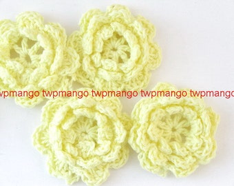 20 Handmade 1.5 inch Crochet Flower Appliques......Yellow... EA246-3