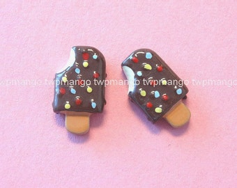 Lot of 20 Mini Resin Chocolate Ice Cream Bar Flat back Button Cabochon Craft N89