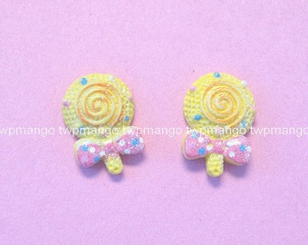 Lot of 20 Resin Lollipop Candy Flat Back Button Cabochon...N92
