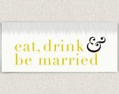 Married - modern and chic horizontal wedding invitation