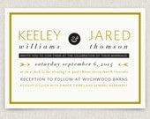 Golden - Modern and stylish wedding invitation on pearl linen paper