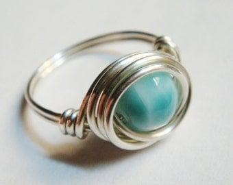 Silver Ring   Silver  Sterling Silver Ring   Sterling Silver   Larimar Sterling Silver Ring  Larimar Jewelry  Sterling Silver Ring