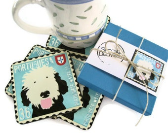 Portuguese Water Dog Art Coasters Home Decor Hostess Gift