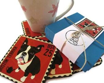 Boston Terrier Art Dog Coasters Home Decor Hostess Gift