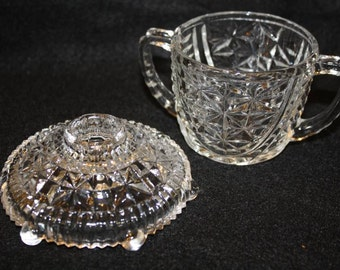 Three Piece Vintage Anchor Hocking Thousand Line Candle, Sugar and Relish Dish