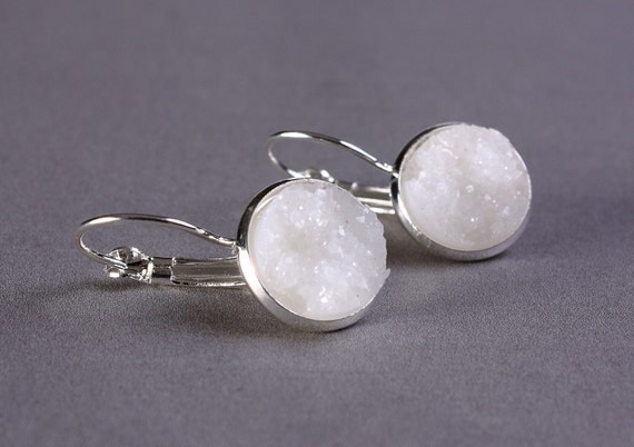 Silver plated white dangle drop earrings (745) - Flat rate shipping